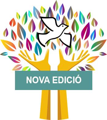 Imatge de l'edició del postgrau de cultara de la pau, un colom blanc vola entre fulles multicolor que surgeixen de dues mans que fan la forma d'un tronc
