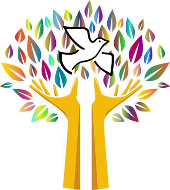 Logo del postgrau de cultura per la pau el dibuix representa un colom blanc que vola entre fulles multicolors que surgeixen d'unes mans que formn un tronc
